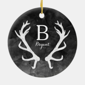 Black Watercolor and Rustic Deer Antlers Monogram Ceramic Ornament