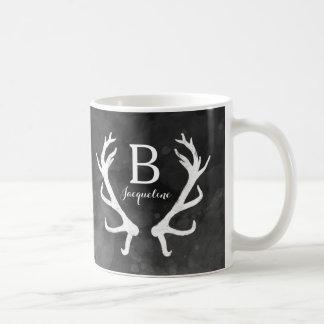 Black Watercolor and Rustic Deer Antlers Monogram Coffee Mug