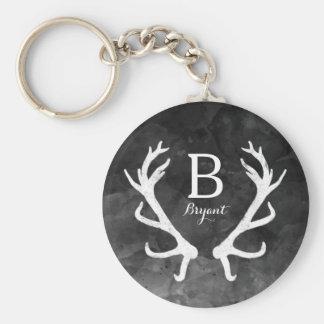 Black Watercolor and Rustic Deer Antlers Monogram Keychain