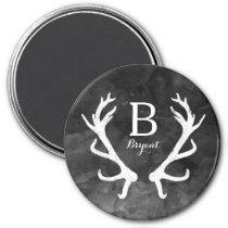 Black Watercolor and Rustic Deer Antlers Monogram Magnet