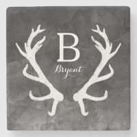 Black Watercolor and Rustic Deer Antlers Monogram Stone Coaster