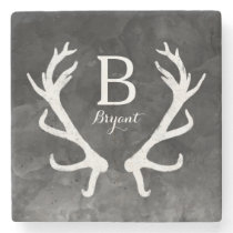 Black Watercolor and Rustic Deer Antlers Monogram Stone Coaster
