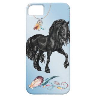 Black Watercolor Friesian Horse on powder blue iPhone SE/5/5s Case