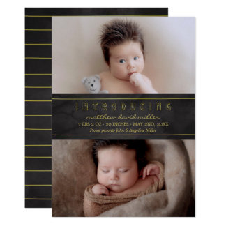 Black Watercolor & Gold | Introducing Baby Card