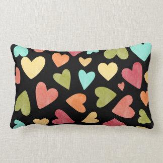 Black Watercolor Hearts Pattern, Pink, Blue Green Lumbar Pillow