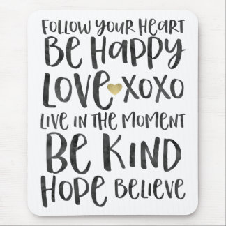 Black Watercolor Inspirational Words Gold Heart Mouse Pad