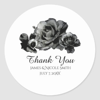 Black Watercolor Roses Elegant Wedding Favor Classic Round Sticker