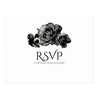 Black Watercolor Roses Elegant Wedding RSVP Postcard