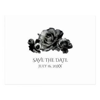 Black Watercolor Roses Wedding Save The Date Postcard