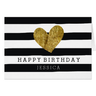Black Watercolor Stripes Gold Heart Birthday Card