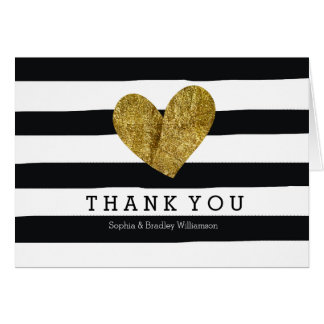Black Watercolor Stripes Gold Heart Thank you Stationery Note Card