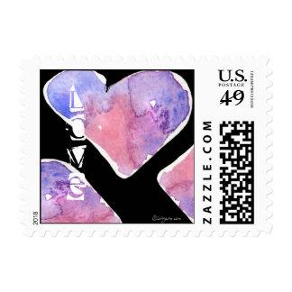 Black Watercolor Valentine Hearts Small Postage
