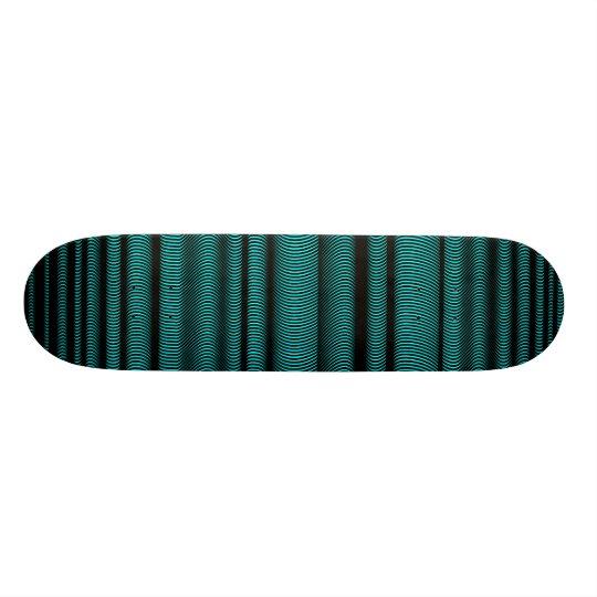 Black Wavy Lines - On Cyan Skateboard Deck