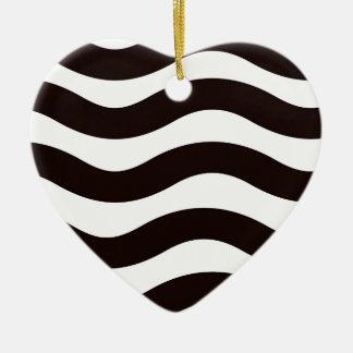 Black Wavy Stripes Ceramic Ornament