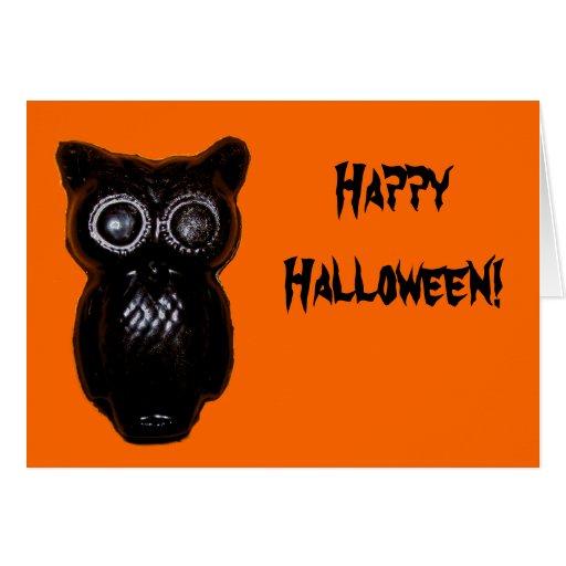 Black Wax Halloween Owl Greeting Card