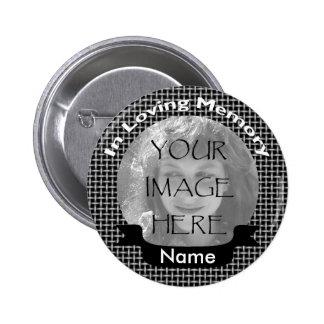 Black Weave Photo Memorial Button