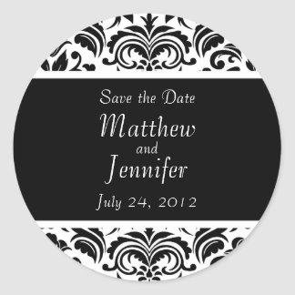 Black Wedding Announcement Save the Date Sticker Round Sticker