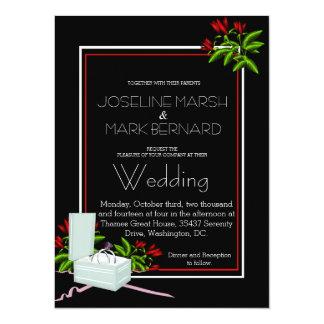 Black Wedding Bands Roses Wedding Invitation