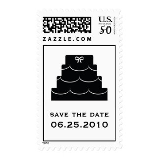 Black wedding cake save the date wedding postage