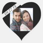 Black Wedding Date Photo Heart Heart Sticker