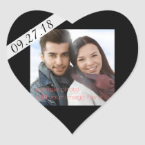 Black Wedding Date Photo Heart Shaped Sticker