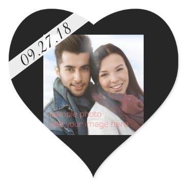 Valentines Themed Black Wedding Date Photo Heart Shaped Sticker