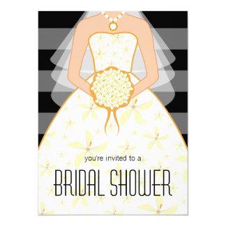 Black Wedding Dress Modern Bridal Shower Invites