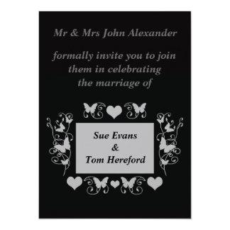 "Black Wedding fun formal invitation 5.5"" X 7.5"" Invitation Card"