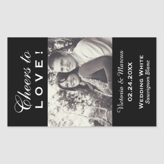 Black Wedding Photo Wine Bottle Favor Rectangular Sticker