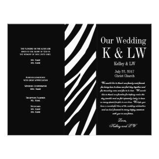 Black Wedding Program Zebra Stripes Pattern Flyer Design