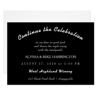 Black Wedding Reception Later Enclosure Card