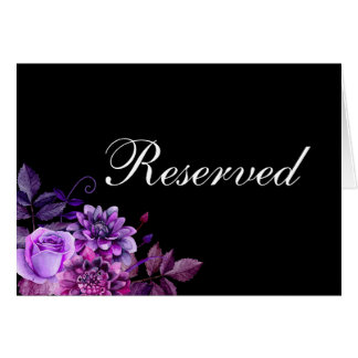 Black wedding reserved sign. Purple table card