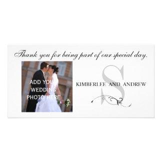 Black Wedding Thank You Monogram Names Photo Card