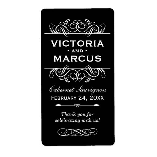 Black Wedding Wine Bottle Favor Labels