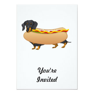 Black Weiner Dog with All the Fixins Card