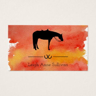 Black Western Horse Silhouette on Watercolor Business Card