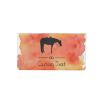 Black Western Horse Silhouette on Watercolor Checkbook Cover