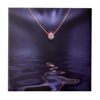 Black Wet Diamond Liquid Gold Necklace Tile