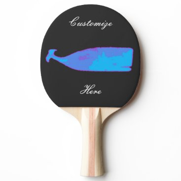 Beach Themed black whale blue Thunder_Cove Ping-Pong Paddle