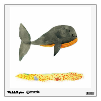 Black Whale Childish Watercolor Painting Wall Decal