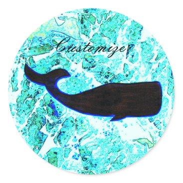 Beach Themed black whale logo Thunder_Cove Classic Round Sticker