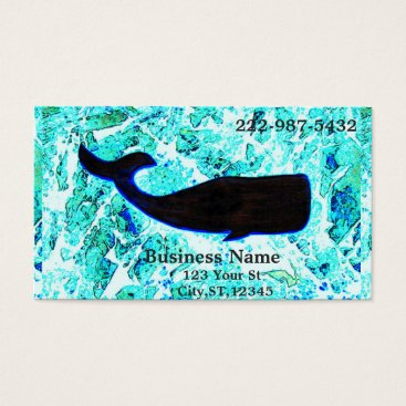 Beach Themed black whale swimming business card