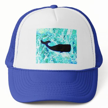 Beach Themed black whale swimming trucker hat