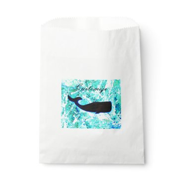 Beach Themed black whale underwater favor bag