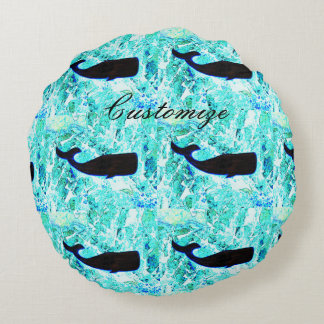 black whales blue Thunder_Cove Round Pillow