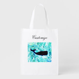 black whales swimming grocery bags
