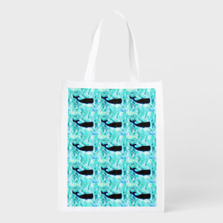 black whales swimming market totes