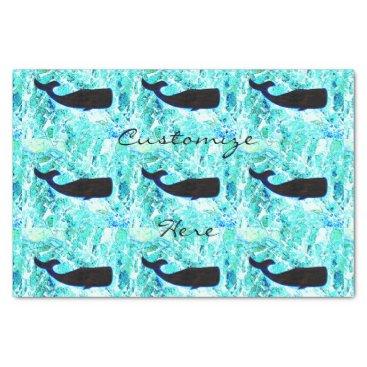 Beach Themed black whales Thunder_Cove blue Tissue Paper