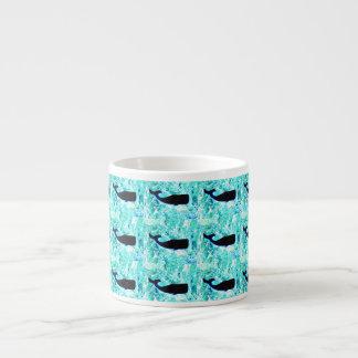 black whales underwater espresso cup