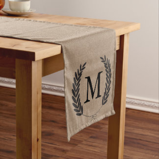 Black Wheat Laurels Faux Burlap - Personalized Medium Table Runner